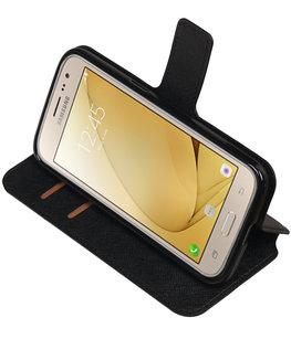 Zwart Hoesje voor Samsung Galaxy J2 2016 TPU wallet case booktype HM Book