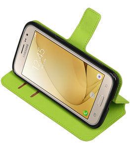 Groen Hoesje voor Samsung Galaxy J2 2016 TPU wallet case booktype HM Book
