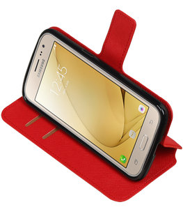 Rood Hoesje voor Samsung Galaxy J2 2016 TPU wallet case booktype HM Book