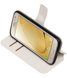 Wit Hoesje voor Samsung Galaxy J2 2016 TPU wallet case booktype HM Book