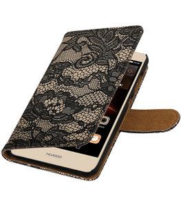 Zwart Lace booktype wallet cover voor Hoesje voor Huawei Y5 II