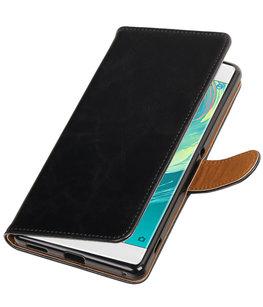 Zwart Pull-Up PU booktype wallet voor Hoesje voor Sony Xperia C6