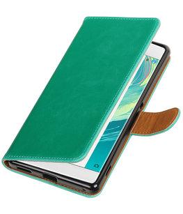 Groen Pull-Up PU booktype wallet voor Hoesje voor Sony Xperia C6