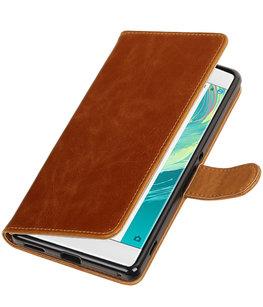 Bruin Pull-Up PU booktype wallet voor Hoesje voor Sony Xperia C6