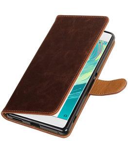 Mocca Pull-Up PU booktype wallet voor Hoesje voor Sony Xperia C6