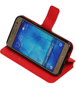 Rood Hoesje voor Samsung Galaxy J7 2015 TPU wallet case booktype HM Book