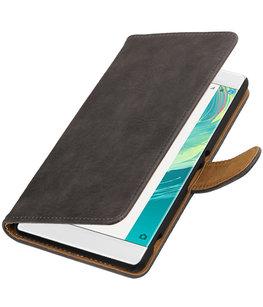 Grijs Hout booktype wallet cover voor Hoesje voor Sony Xperia C6
