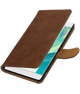 Bruin Hout booktype wallet cover voor Hoesje voor Sony Xperia C6