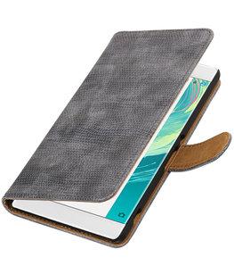 Grijs Mini Slang booktype wallet cover voor Hoesje voor Sony Xperia C6