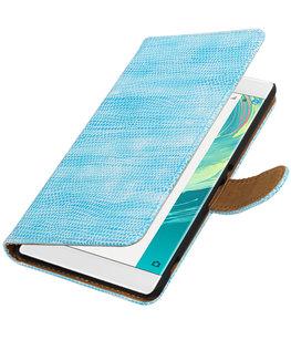 Turquoise Mini Slang booktype wallet cover voor Hoesje voor Sony Xperia C6