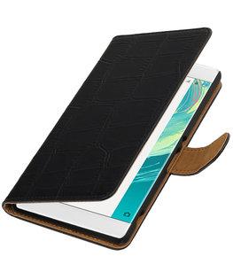 Zwart Krokodil booktype wallet cover voor Hoesje voor Sony Xperia C6