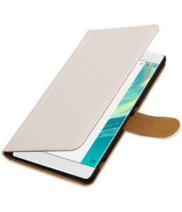 Wit Krokodil booktype wallet cover voor Hoesje voor Sony Xperia C6