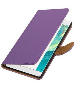 Paars Effen booktype wallet cover voor Hoesje voor Sony Xperia C6