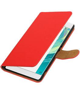 Rood Effen booktype wallet cover voor Hoesje voor Sony Xperia C6