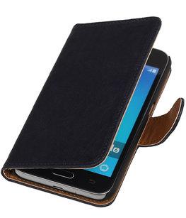 Donker Blauw Echt Leer Leder booktype wallet voor Hoesje voor Samsung Galaxy J1 2016