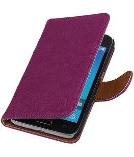 Paars Echt Leer Leder booktype wallet voor Hoesje voor Samsung Galaxy J1 2016