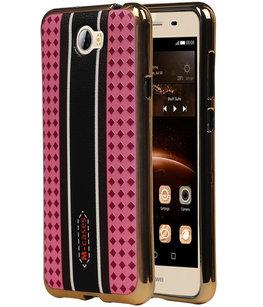 M-Cases Roze Ruit Design TPU back case cover voor Hoesje voor Huawei Y5 II