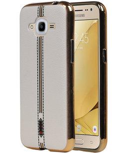 M-Cases Wit Leder Design TPU back case voor Hoesje voor Samsung Galaxy J2 2016