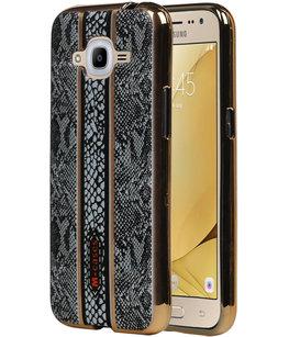 M-Cases Zwart Slang Design TPU back case voor Hoesje voor Samsung Galaxy J2 2016