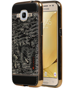 M-Cases Zwart Krokodil Design TPU back case voor Hoesje voor Samsung Galaxy J2 2016