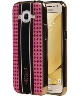 M-Cases Roze Ruit Design TPU back case voor Hoesje voor Samsung Galaxy J2 2016