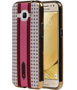 M-Cases Roze Paars Ruit Design TPU back case voor Hoesje voor Samsung Galaxy J2 2016