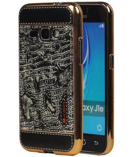 M-Cases Zwart Krokodil Design TPU back case voor Hoesje voor Samsung Galaxy J1 2016