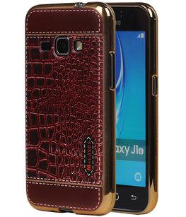M-Cases Bruin Krokodil Design TPU back case voor Hoesje voor Samsung Galaxy J1 2016