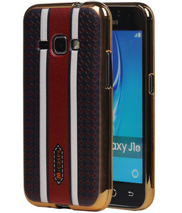 M-Cases Bruin Ruit Design TPU back case voor Hoesje voor Samsung Galaxy J1 2016