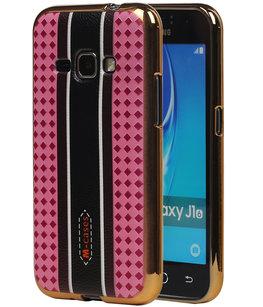 M-Cases Roze Ruit Design TPU back case voor Hoesje voor Samsung Galaxy J1 2016
