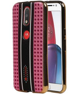 M-Cases Roze Ruit Design TPU voor Hoesje voor Motorola Moto G4 / G4 Plus