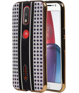 M-Cases Bruin Paars Ruit Design TPU voor Hoesje voor Motorola Moto G4 / G4 Plus