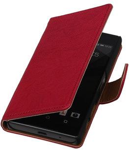 Roze Echt Leer Booktype Hoesje voor Sony Experia Z5 Compact Wallet Cover