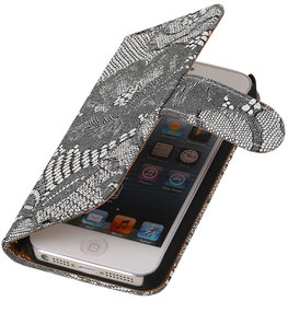 Wit Lace 2 booktype wallet cover voor Hoesje voor Apple iPhone 5 / 5s / SE