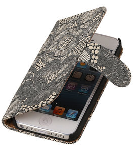 Beige Lace 2 booktype wallet cover voor Hoesje voor Apple iPhone 5 / 5s / SE