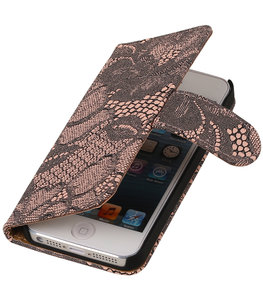 Roze Lace 2 booktype wallet cover voor Hoesje voor Apple iPhone 5 / 5s / SE