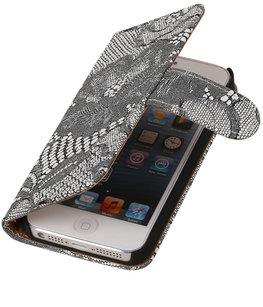 Wit Lace 2 booktype wallet cover voor Hoesje voor Apple iPhone 6 Plus / 6s Plus