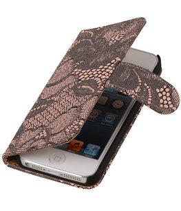 Roze Lace 2 booktype wallet cover voor Hoesje voor Apple iPhone 6 Plus / 6s Plus