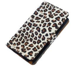 Bruin Luipaard booktype wallet cover voor Hoesje voor HTC One M8