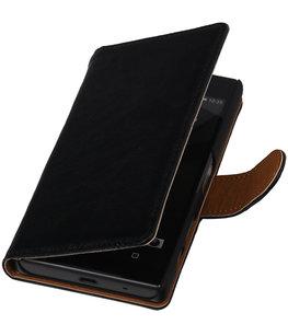 Zwart Echt Leer Leder booktype wallet voor Hoesje voor Huawei Y6 II Compact