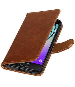 Bruin Pull-Up PU booktype wallet cover voor Hoesje voor Samsung Galaxy A3 2017