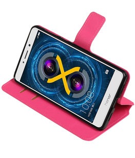 Roze Hoesje voor Huawei Honor 6x 2016 TPU wallet case booktype HM Book