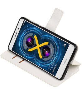 Wit Hoesje voor Huawei Honor 6x 2016 TPU wallet case booktype HM Book