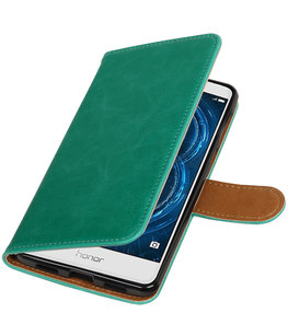 Groen Pull-Up PU booktype wallet cover voor Hoesje voor Huawei Honor 6x 2016