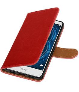 Rood Pull-Up PU booktype wallet cover voor Hoesje voor Huawei Honor 6x 2016