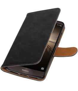 Zwart Pull-Up PU booktype wallet cover voor Hoesje voor Huawei Mate 9
