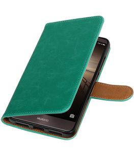 Groen Pull-Up PU booktype wallet cover voor Hoesje voor Huawei Mate 9