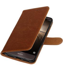 Bruin Pull-Up PU booktype wallet cover voor Hoesje voor Huawei Mate 9