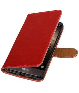 Rood Pull-Up PU booktype wallet cover voor Hoesje voor Huawei Mate 9
