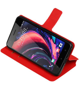 Rood Hoesje voor HTC Desire 10 Pro TPU wallet case booktype HM Book